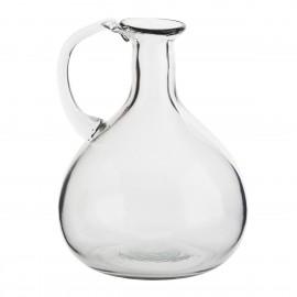 madam stoltz vase verre transparent  vintage retro avec poignee