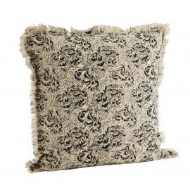 madam stoltz housse coussin franges coton imprime floral gris beige