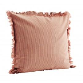madam stoltz housse de coussin raye coton rose franges
