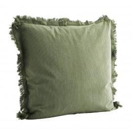 Housse de coussin franges coton rayé Madam Stoltz vert