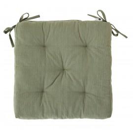 Coussin de chaise carré coton rayé Madam Stoltz vert