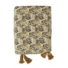 madam stoltz plaid boutis imprime floral boheme vintage jaune beige