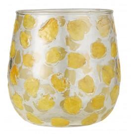 ib laursen photophore veritables petales fleur incrustees verre jaunes