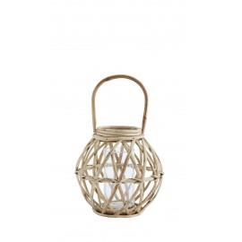 madam stoltz lanterne bois de bambou rustique style campagne