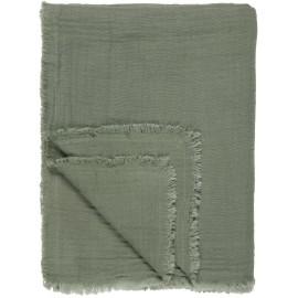 plaid coton double gaze vert poudre kaki ib laursen 130 x 170 cm