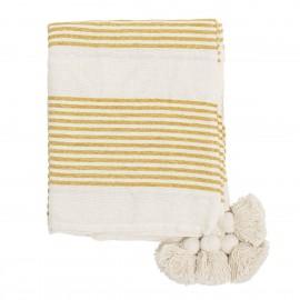 plaid blanc rayures jaunes pompons bloomingville