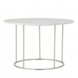 bloomingville table basse ronde plateau marbre blanc metal argent