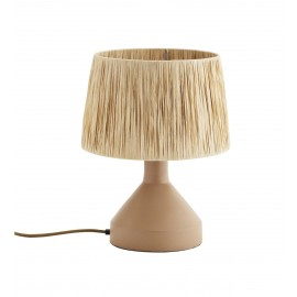 madam stoltz lampe de table metal beige abat jour raphia naturel