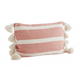 madam stoltz coussin rectangulaire coton raye pompons rose corail