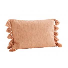 Housse coussin rectangulaire coton pompons Madam Stoltz orange