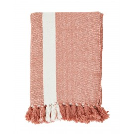 madam stoltz plaid coton raye rose corail franges 125 x 175 cm