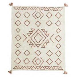 madam stoltz tapis tufte ecru motif geometrique orange 140 x 200 cm