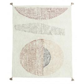 madam stoltz tapis tufte ecru tons pastel motif ethnique 140 200 cm
