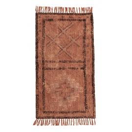 madam stoltz tapis tufte orange franges motif ethnique 70 x 140 cm