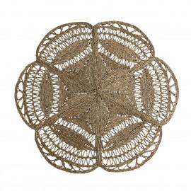 madam stoltz tapis jonc de mer en forme de fleur tissage dentelle