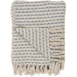 ib laursen plaid franges coton motif bleu ecru creme 130 x 160 cm