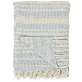 Plaid rayé coton franges IB Laursen bleu