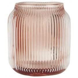 Bougeoir photophore verre strié IB Laursen rose