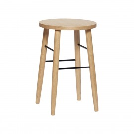 hubsch tabouret rond bois clair style scandinave h 52 cm
