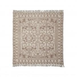 house doctor wowe grand tapis carre motif beige marron 180 x 180 cm