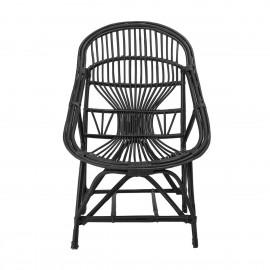 bloomingville joline fauteuil lounge cannage noir style rotin retro