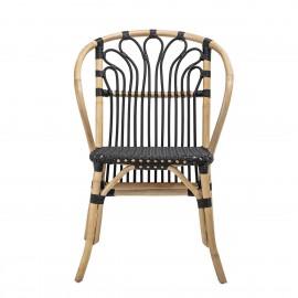 bloomingville maila chaise cannage rotin naturel plastique noir retro