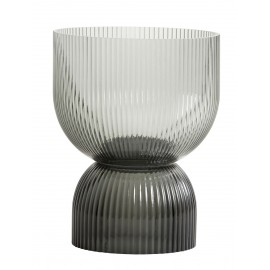 bougeoir porte bougie chic verre fume gris strie nordal riva