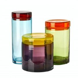 pols potten bocal de cuisine verre colore design chic set de 3