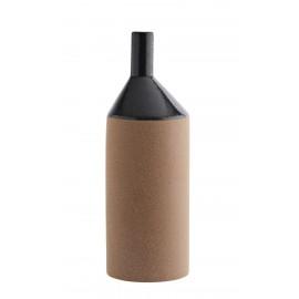 madam stoltz grand vase bouteille gres terre cuite noir