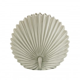 madam stoltz vase style retro forme feuille ronde gres strie blanc