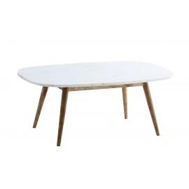 madam stoltz table basse rectangulaire plateau marbre blanc pieds bois