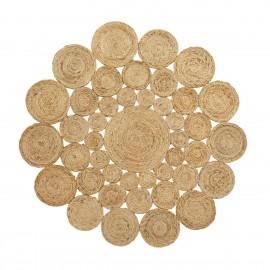 tapis rond jute naturel cercles style boheme nordal 150 cm