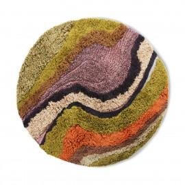 hk living tapis rond a poil long multicolore d 150 cm gradient vert