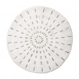 hk living swirl tapis rond coton blanc noir d 120 cm