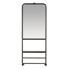 ib laursen miroir mural avec etagere et 2 barres metal noir industriel