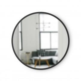 umbra hub miroir mural rond cadre caoutchouc noir 46 cm