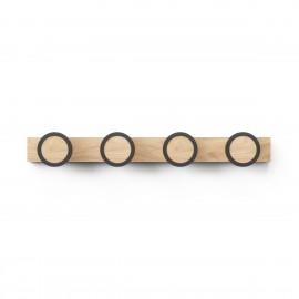 umbra hub rail portemanteau mural design bois clair 4 pateres rondes