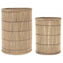 photophore ronde bois de bambou ib laursen set de 2