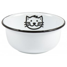 gamelle pour chat rigolo metal emaille blanc