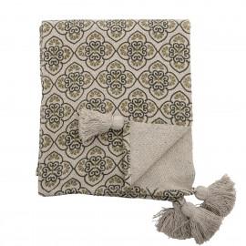 Plaid coton recyclé imprimé pompons Bloomingville