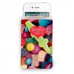 Housse iPhone rigolo bonbons jardin sucré bonjour mon coussin