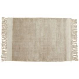 nordal petit tapis moelleux beige franges filuca 60 x 90 cm