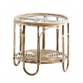 madam stoltz table basse ronde bois de bambou vitreee style vintage