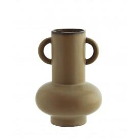madam stoltz vase gres marron  avec 2 poigees style campagne