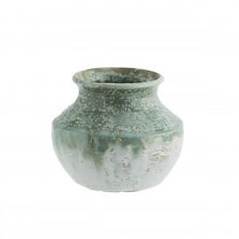 madam stoltz petit vase rustique artisanal gres bicolore vert blanc