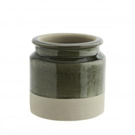 madam stoltz pot de fleur terre cuite bicolore vert beige