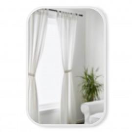 umbra hub miroir rectangulaire angles arrondis cadre caoutchouc blanc