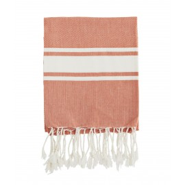 madam stoltz serviette de hammam fouta coton rose saumon orange