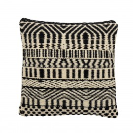 bloomingville coussin carre laine tisse motif noir blanc