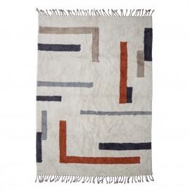 bloomingville tapis coton tufte motif geometrique colore jue